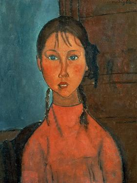Girl with Pigtails, circa 1918 by Amedeo Modigliani