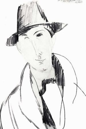Man with hat drawing by Amedeo Modigliani
