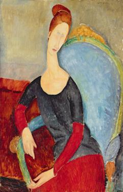 Mme Hebuterne in a Blue Chair, 1918 by Amedeo Modigliani
