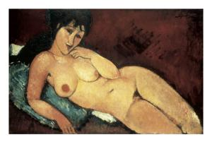 Nude on a Blue Cushion by Amedeo Modigliani
