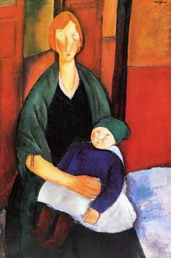Seated woman with child by Amedeo Modigliani