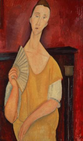 Woman with a Fan (Lunia Czechowska) 1919 by Amedeo Modigliani