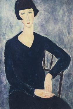 Young Woman with a Fringe or Young Seated Woman in Blue Dress, 1918 by Amedeo Modigliani