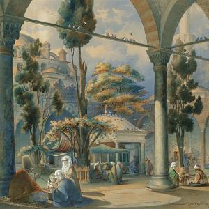 Courtyard of the Sultan Bayezid Mosque in Constantinople by Amedeo Preziosi