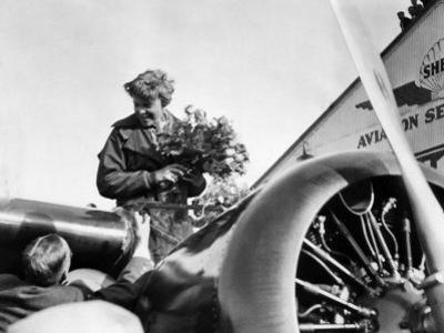 Amelia Earhart Just after Landing in Oakland, on First Solo Flight across Pacific, January 12, 1935