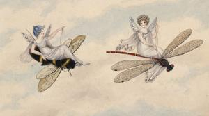 Two Fairies Flying Through the Air, One Seated on a Bee and the Other on a Dragonfly by Amelia Jane Murray