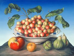 Cherries in Delft Bowl with Red and Yellow Apple by Amelia Kleiser