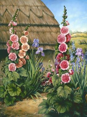 Cottage Garden with Hollyhocks, 1995 by Amelia Kleiser