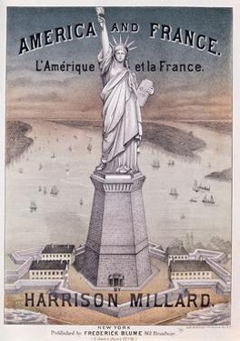 America and France', Music Score for Song About the Statue of Liberty by Harrison Millard (1830-95)