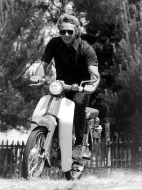 American Actor Steve Mcqueen on a Moto to Prepapre His Film Le Mans, 1969