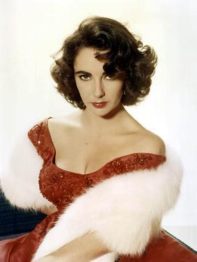 American Actress Elizabeth Taylor with a Red Dress and a Fur Stole C. 1959