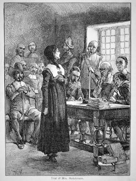 Anne Hutchinson on Trial for Offending the Puritan Clergy in Massachusetts (Litho) by American