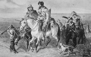 Border Ruffians from Missouri Invading Kansas, 1856 (Etching) by American