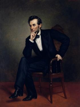 American Civil War Painting of President Abraham Lincoln Seated in a Chair