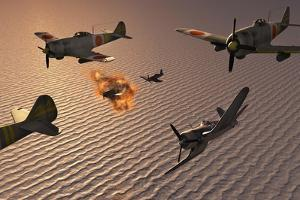 American F4U Corsair Aircraft Attacking Japanese Nakajima Torpedo Bombers
