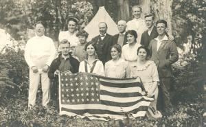 American Family Reunion with Flag