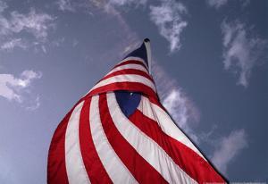 American Flag Against Blue