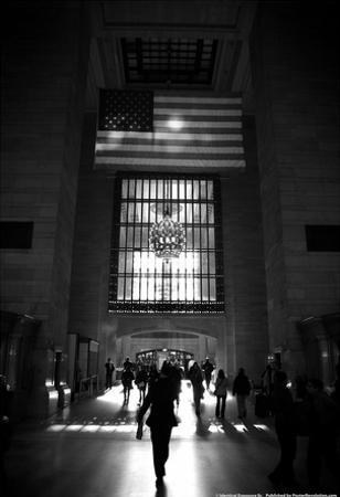 American Flag in Grand Central Station