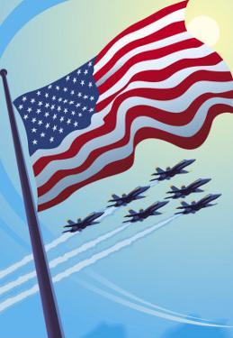 American Flag with Planes Flying in the Sky