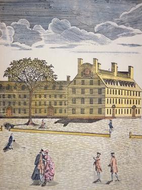 Harvard College, Cambridge, Massachusetts C.1740 (Colour Litho) by American