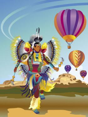 American Indian Dancer and Hot Air Balloons, Grouped Elements