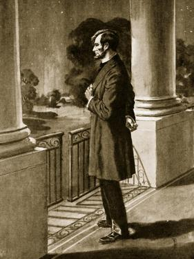 Lincoln Looks Out from the White House (Litho) by American