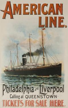American Line Philadelphia and Liverpool Cruise Line Travel Poster