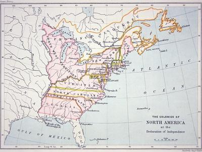 Map of the Colonies of North America at the Time of the Declaration of Independence