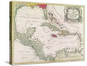 New and Accurate Map of the West Indies (Colour Litho) by American
