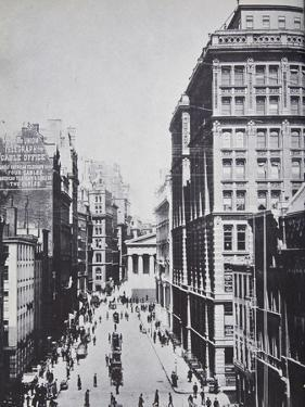 Broad Street, Looking Towards Wall Street, New York, 1893 (B/W Photo) by American Photographer