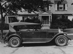Dupont Automobile on Front of House, C.1919-30 (B/W Photo) by American Photographer