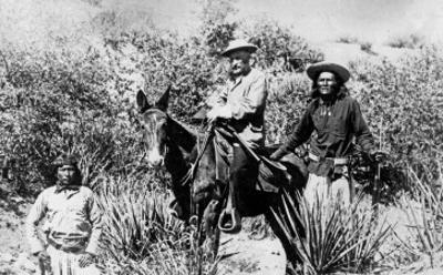 General George Crook on a Mule, with Two Apache in Arizona, 1882