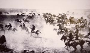 Homesteaders Rushing into the Cherokee Strip, 16th September 1893 (B/W Photo) by American Photographer