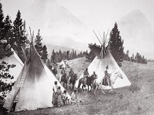 Native American Teepee Camp, Montana, C.1900 (B/W Photo) by American Photographer