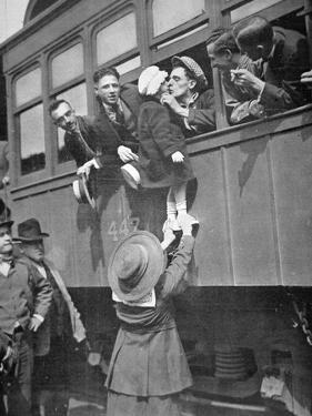 Us Army Recruits Bid Farewell to Family before the Train Journey to Training Camp, 1917 by American Photographer