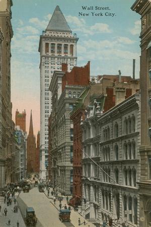 Wall Street, New York City. Postcard Sent in 1913