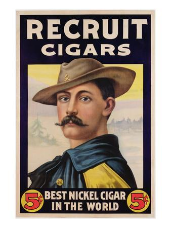 Poster Advertising Recruit Cigars, C.1899 (Colour Litho)