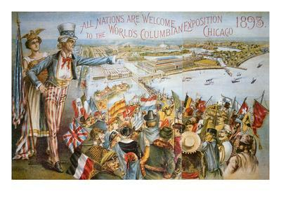 Poster Advertising the World's Columbian Exposition, Chicago 1893 (Colour Litho)