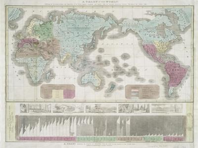 A chart of the world exhibiting the prevailing religion and population of the present empires, 1842 by American School