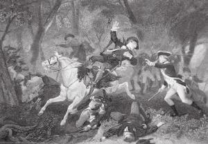 Death of Patrick Ferguson at the Battle of King's Mountain, 7 October 1780 by American School