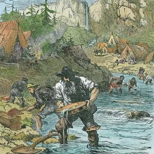 Gold Washing in California, from a Book Pub. 1896 by American School