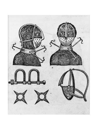 Iron mask, collar, leg shackles and spurs used to restrict slaves, 1807 by American School