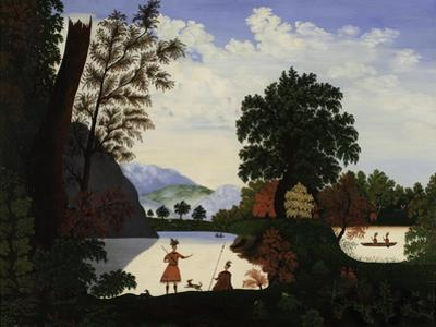 Landscape with Indians, 1880 by American School