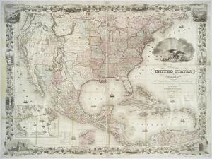 Map of the United States, British provinces, Mexico, West Indies and Central America, 1850 by American School