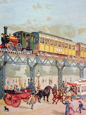 New York Elevated Railway, C.1880 by American School