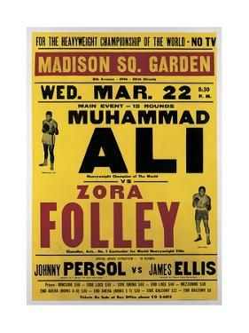 Poster Advertising the Fight Between Muhammad Ali and Zora Folley, Madison Square Garden, 22nd… by American School