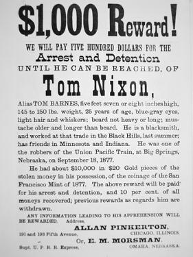 Reward Poster for Tom Nixon Issued by the Pinkerton National Detective Agency, 1877 by American School
