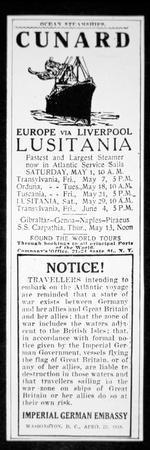 Sailing Notice and German Warning, New York Herald, 1st May 1915