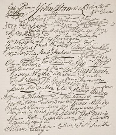 Signatures to the Declaration of Independence, 1776 by American School