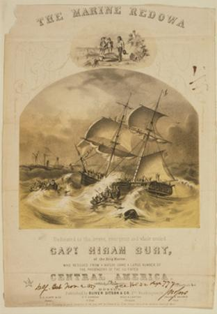 The brig Marine rescuing passengers from the steamer SS Central America after a hurricane, 1857 by American School